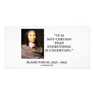 Blaise Pascal no seguro todo es incierto Tarjeta Fotografica