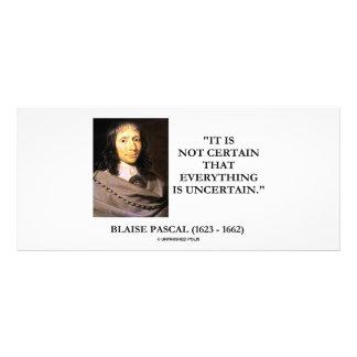 Blaise Pascal no seguro todo es incierto Lona Personalizada