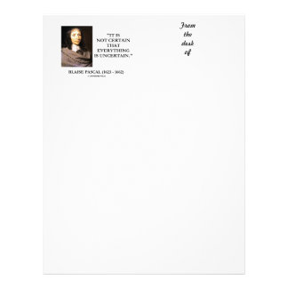 Blaise Pascal Not Certain Everything Is Uncertain Letterhead