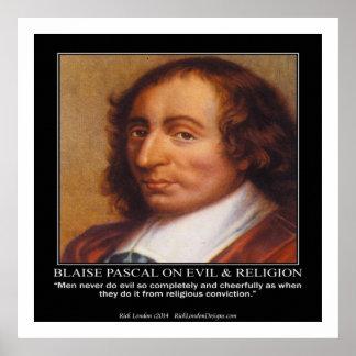 Blaise Pascal y poster malvado religioso de la