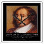Blaise Pascal y reloj de pared malvado religioso