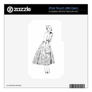 blak and white fashion lady iPod touch 4G skin