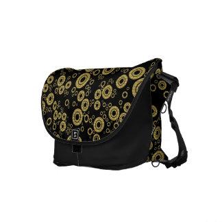 Blak & Yellow Gold Random Circles Pattern Courier Bag