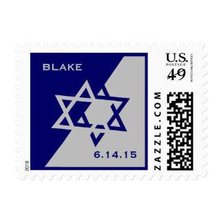 Blake Blue Silver Bar Mitzvah Postage Stamp