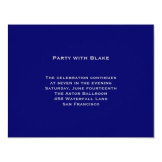 Blake Blue Silver Bar Mitzvah Reception Card