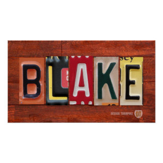 BLAKE License Plate Lettering Name Sign Poster