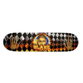 Blake skull real fire and flames skateboard design