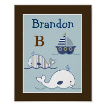 Blake Whale Sailboat Nursery Wall Art Name Print