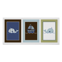 Blake Whale Sailboat Nursery Wall Art Print