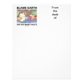 Blame Earth She Has Many Faults (Plate Tectonics) Letterhead