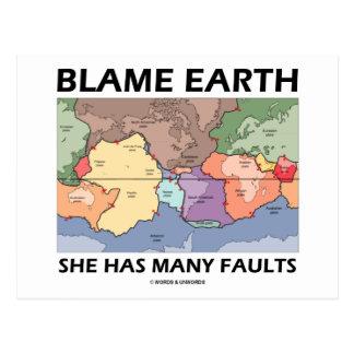 Blame Earth She Has Many Faults (Plate Tectonics) Postcard