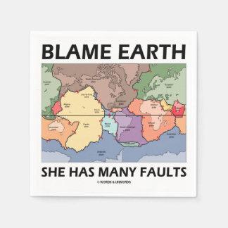 Blame Earth She Has Many Faults (Plate Tectonics) Standard Cocktail Napkin