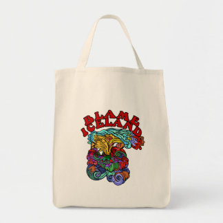 Blame Iceland with Psychedelic Volcano Grocery Tote Bag