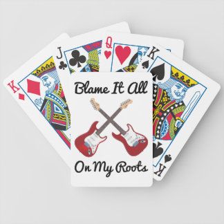 Blame It All On My Roots Crossed Guitars Bicycle Playing Cards