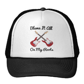 Blame It All On My Roots Crossed Guitars Trucker Hat