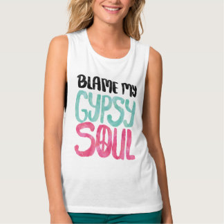 Blame My Gypsy Soul Watercolor Peace Sign Flowy Muscle Tank Top