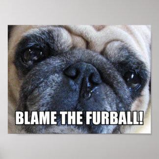 BLAME THE FURBALL! ALLERGY MEME POSTER