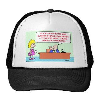 blame typewriters computerized trucker hat