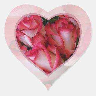 Blamk del corazón 2a de los rosas rojos y blancos pegatina corazón