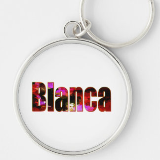Blanca Silver-Colored Round Keychain