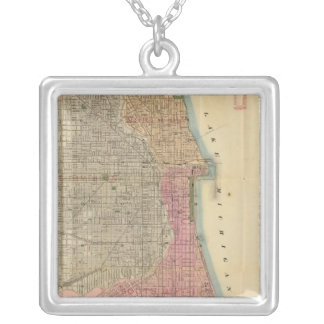 Blanchard's guide map of Chicago Square Pendant Necklace