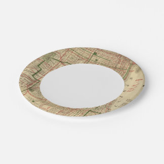 Blanchard's map of Chicago 7 Inch Paper Plate