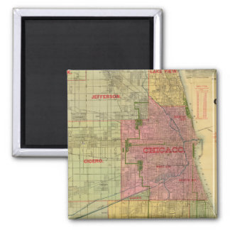 Blanchard's map of Chicago and environs 2 Inch Square Magnet