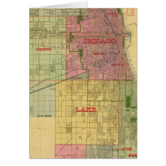Blanchard's map of Chicago and environs Card