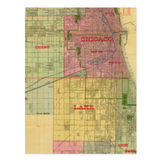Blanchard's map of Chicago and environs Postcard