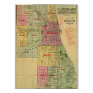 Blanchard's map of Chicago and environs Poster