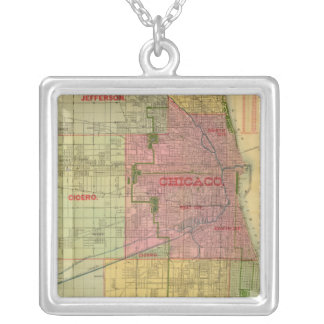 Blanchard's map of Chicago and environs Square Pendant Necklace