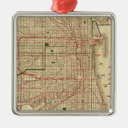 Blanchard's map of Chicago Square Metal Christmas Ornament