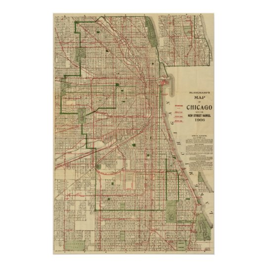 Blanchard's map of Chicago Poster