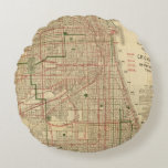 Blanchard's map of Chicago Round Pillow