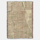 Blanchard's map of Chicago Throw Blanket