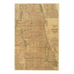 Blanchard's map of Chicago Wood Wall Art
