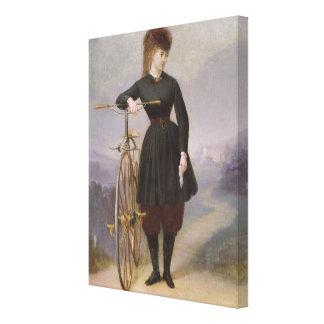 Blanche d'Antigny y su velocípedo Impresión En Lona