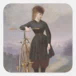 Blanche d'Antigny y su velocípedo Pegatina Cuadrada