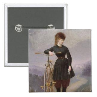 Blanche d'Antigny y su velocípedo Pin Cuadrado