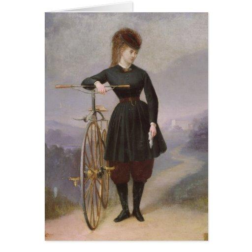 Blanche d'Antigny y su velocípedo Tarjeta De Felicitación