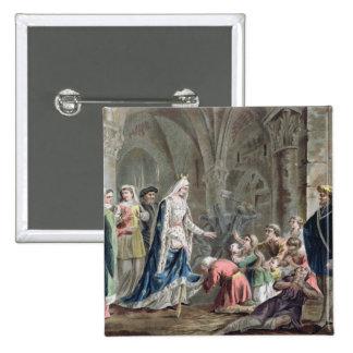 Blanche de Castille (1185-1252) Breaks up the Pris 2 Inch Square Button