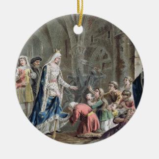 Blanche de Castille (1185-1252) rompe para arriba Adorno Navideño Redondo De Cerámica