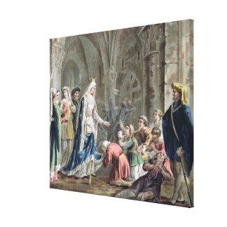 Blanche de Castille (1185-1252) rompe para arriba  Impresión En Lienzo Estirada