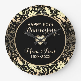 Blanched Almond Damask And Heart- Anniversary Large Clock