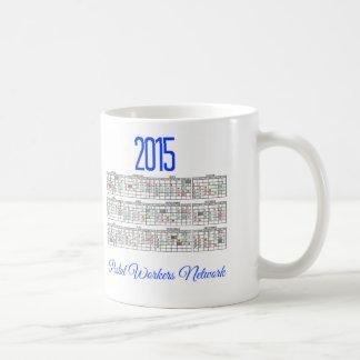 blanco 2015 del calendario del codificado por taza de café