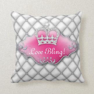 Blanco 2 del diamante de princesa Crown Pillow Tuf Cojin
