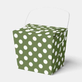 Blanco adaptable en lunar del verde verde oliva cajas para regalos