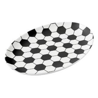 Blanco adaptado del negro del modelo del balón de badeja de porcelana