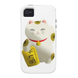 Blanco afortunado del gato vibe iPhone 4 carcasas