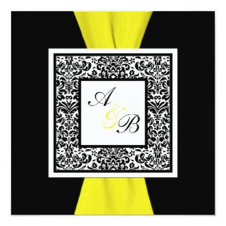 , Blanco, amarillo CINTA IMPRESA damasco negro Invitación 13,3 Cm X 13,3cm